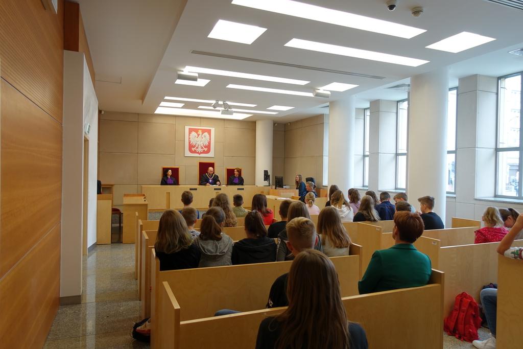 Na pierwszym planie publiczność na rozprawie. W głębi sali za stołem skład orzekający (sędziowie).